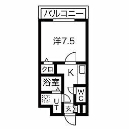 名古屋市営東山線 中村日赤駅 徒歩6分の賃貸マンション 4階1Kの間取り
