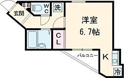 多摩都市モノレール 大塚・帝京大学駅 徒歩1分の賃貸アパート 1階ワンルームの間取り