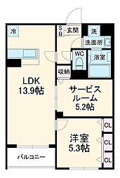 Adi I 3階1SLDKの間取り
