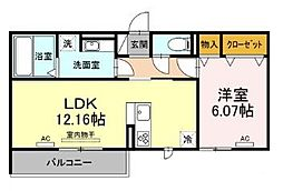 仮)D-room北岡崎 2階1LDKの間取り
