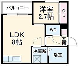 仮)R-SMART尾頭橋1 1階1DKの間取り
