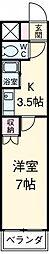 アイルーム豊田永覚II 2階1Kの間取り
