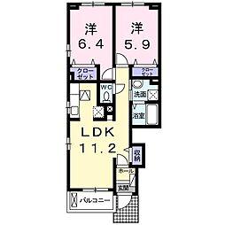 東武伊勢崎線 館林駅 徒歩14分の賃貸アパート 1階2LDKの間取り
