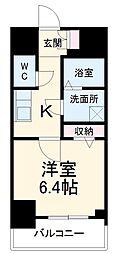 名古屋市営桜通線 中村区役所駅 徒歩9分の賃貸マンション 6階1Kの間取り