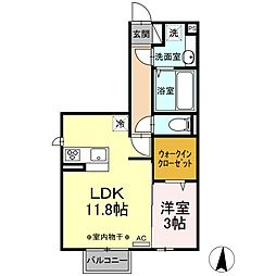 (仮)D-room江木町 2階1LDKの間取り