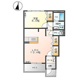 東武宇都宮線 新栃木駅 徒歩20分の賃貸アパート 1階1LDKの間取り