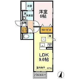 仮)D-roomよしわら B 1階1LDKの間取り