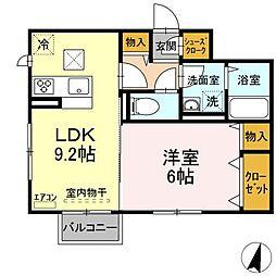仮)D-roomよしわら B 2階1LDKの間取り