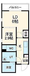 名古屋市営東山線 中村日赤駅 徒歩6分の賃貸マンション 5階2Kの間取り