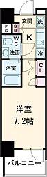 AZESTお花茶屋II 6階1Kの間取り