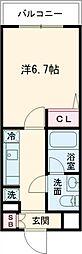 AZEST亀有II 1階1Kの間取り