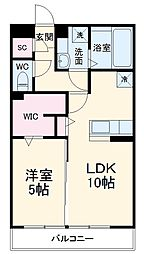 JR武蔵野線 越谷レイクタウン駅 徒歩12分の賃貸アパート 2階1LDKの間取り