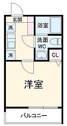 MELDIA中野島 3階1Kの間取り