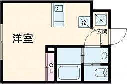 小田急小田原線 梅ヶ丘駅 徒歩10分の賃貸マンション 4階ワンルームの間取り