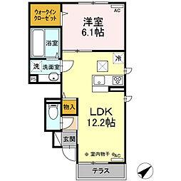 (仮)D-room山川町 III期 1階1LDKの間取り