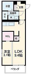 名古屋市営東山線 中村日赤駅 徒歩9分の賃貸マンション 1階1LDKの間取り