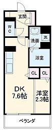 名古屋市営東山線 中村日赤駅 徒歩9分の賃貸マンション 1階1DKの間取り