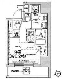 エルフォルテ五反田 11階ワンルームの間取り