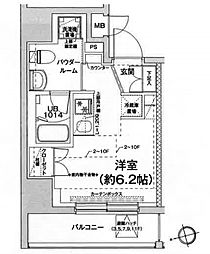 都営浅草線 戸越駅 徒歩6分の賃貸マンション 6階ワンルームの間取り