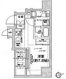 都営浅草線 戸越駅 徒歩6分の賃貸マンション 11階ワンルームの間取り