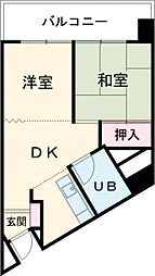佐々木コーポ 4階2DKの間取り