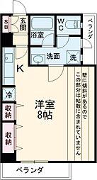 京王相模原線 京王多摩センター駅 徒歩9分の賃貸マンション 3階ワンルームの間取り