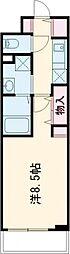 JR中央線 立川駅 徒歩7分の賃貸マンション 3階1Kの間取り
