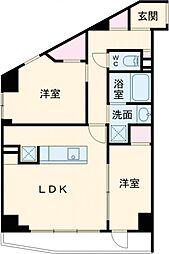 東急東横線 中目黒駅 徒歩5分の賃貸マンション 3階1Kの間取り