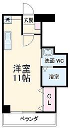 JR東海道本線 三河安城駅 徒歩4分の賃貸マンション 2階ワンルームの間取り
