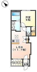 JR常磐線 ひたち野うしく駅 10kmの賃貸アパート 1階1LDKの間取り