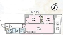 Luce 10階2LDKの間取り