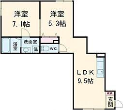 メゾン・ド・クレア 3階2LDKの間取り