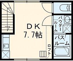 シャルム柴崎 2階ワンルームの間取り