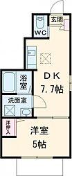 京王線 仙川駅 徒歩13分の賃貸アパート 1階1Kの間取り