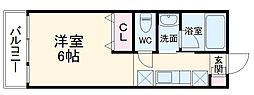 ABCヒルズ成田 1階1Kの間取り