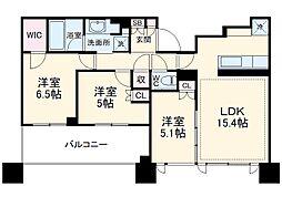 シティタワー武蔵小杉 34階3LDKの間取り
