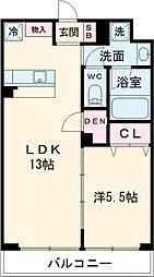 ラ・ぺルラ柿の木坂 地下1階1LDKの間取り