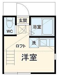京急本線 追浜駅 徒歩9分の賃貸アパート 1階ワンルームの間取り