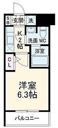 キューブ武蔵小杉 1階1Kの間取り