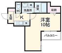 レオ伍拾八番館 4階1Kの間取り
