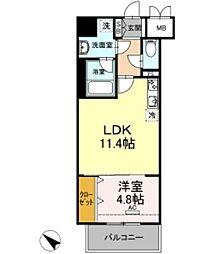 D-room gracious平尾 5階1DKの間取り