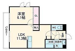(仮称)南区久世中久世5丁目共同住宅 1階1LDKの間取り