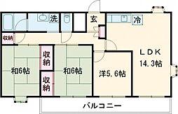 阿部南葛西第1マンション 5階3LDKの間取り