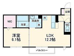 名鉄豊川線 八幡駅 徒歩5分の賃貸アパート 3階1LDKの間取り