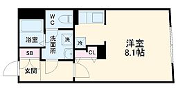MTM東別院 4階ワンルームの間取り