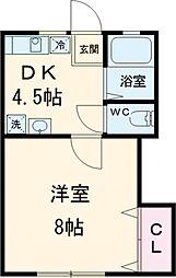 京王線 高幡不動駅 徒歩10分の賃貸アパート 1階1DKの間取り
