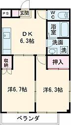 第2ジェネラスコート 2階2DKの間取り