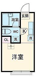 ヒルスミキ上倉田 1階ワンルームの間取り