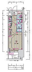 名古屋市営名城線 東別院駅 徒歩2分の賃貸マンション 2階1Kの間取り