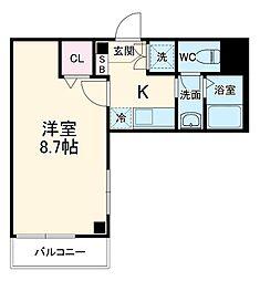 シンシア八番館 3階ワンルームの間取り